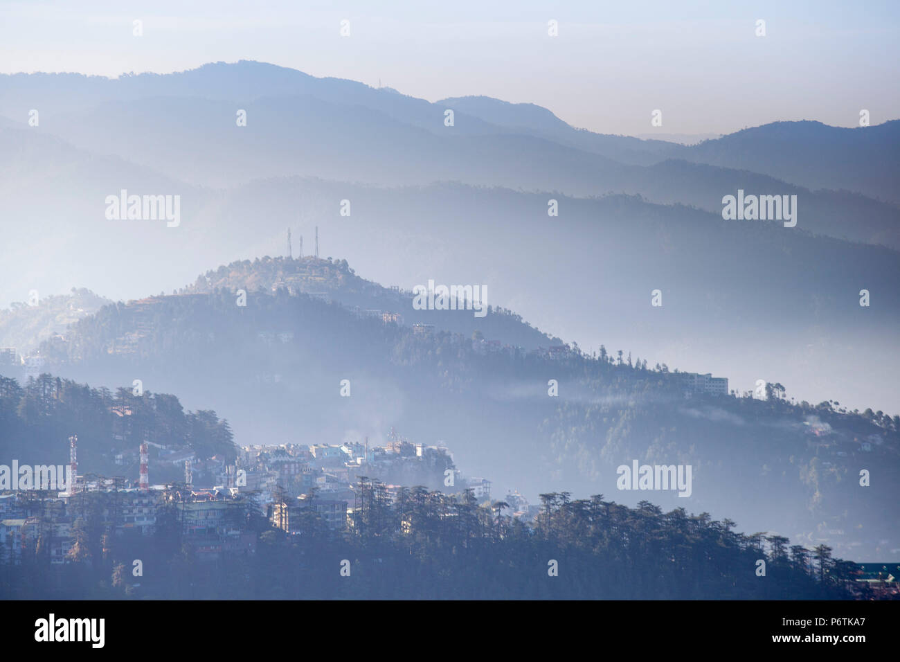 India, Himachal Pradesh, Shimla, View of mountains from The Ridge at dawn - Stock Image