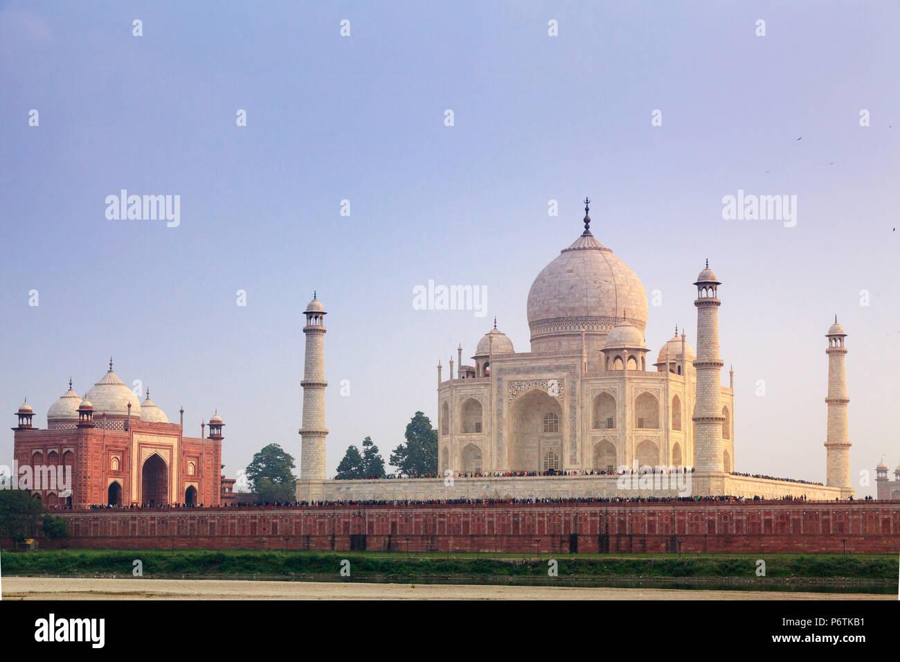 India, Uttar Pradesh, Agra, Taj Mahal (UNESCO site) - Stock Image