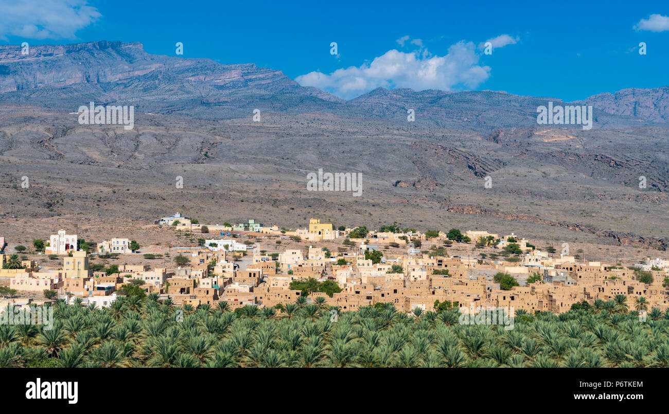 View of abandoned old mud houses in Al Hamra Oman - Stock Image