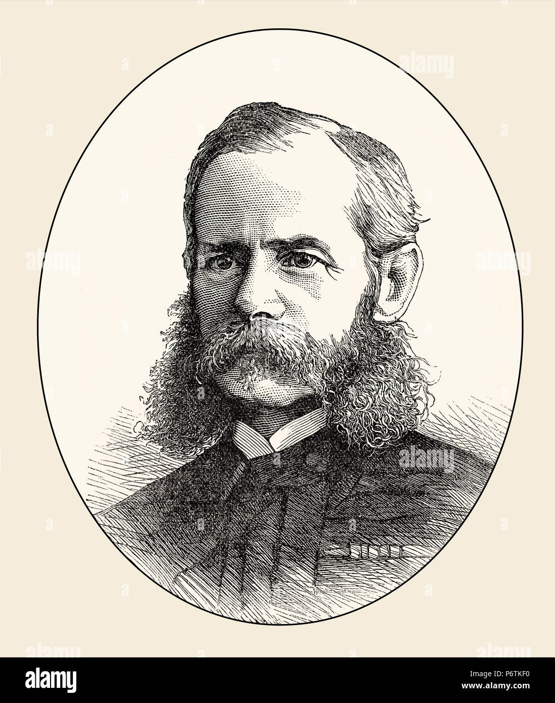 Frederick Sleigh Roberts, 1st Earl Roberts, 1832 –1914, British Field Marshal, From British Battles on Land and Sea, by James Grant - Stock Image