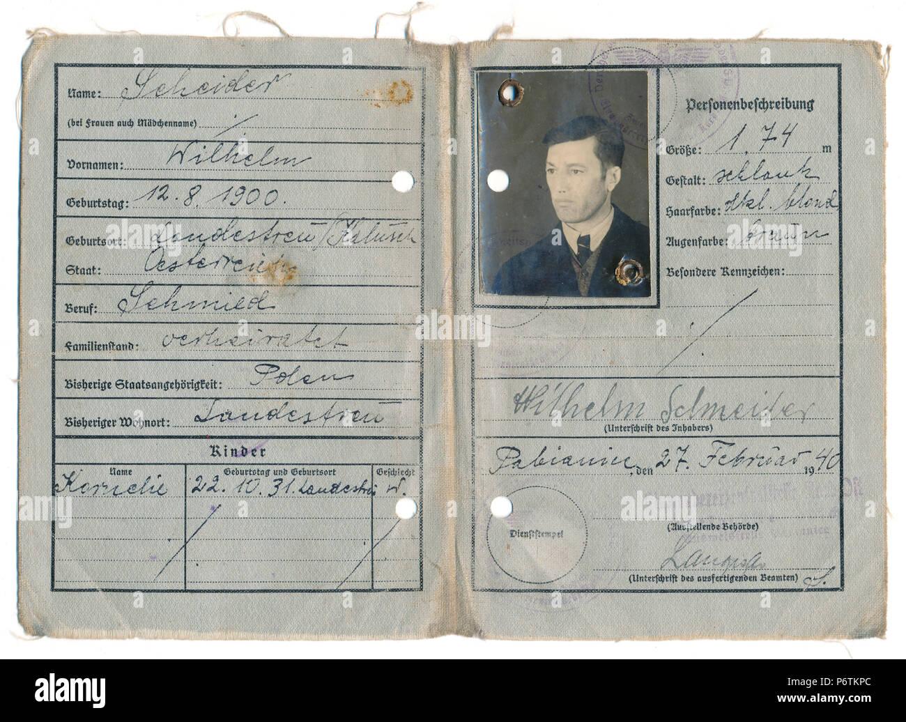 Old passport, 1940, German Empire, Europe - Stock Image