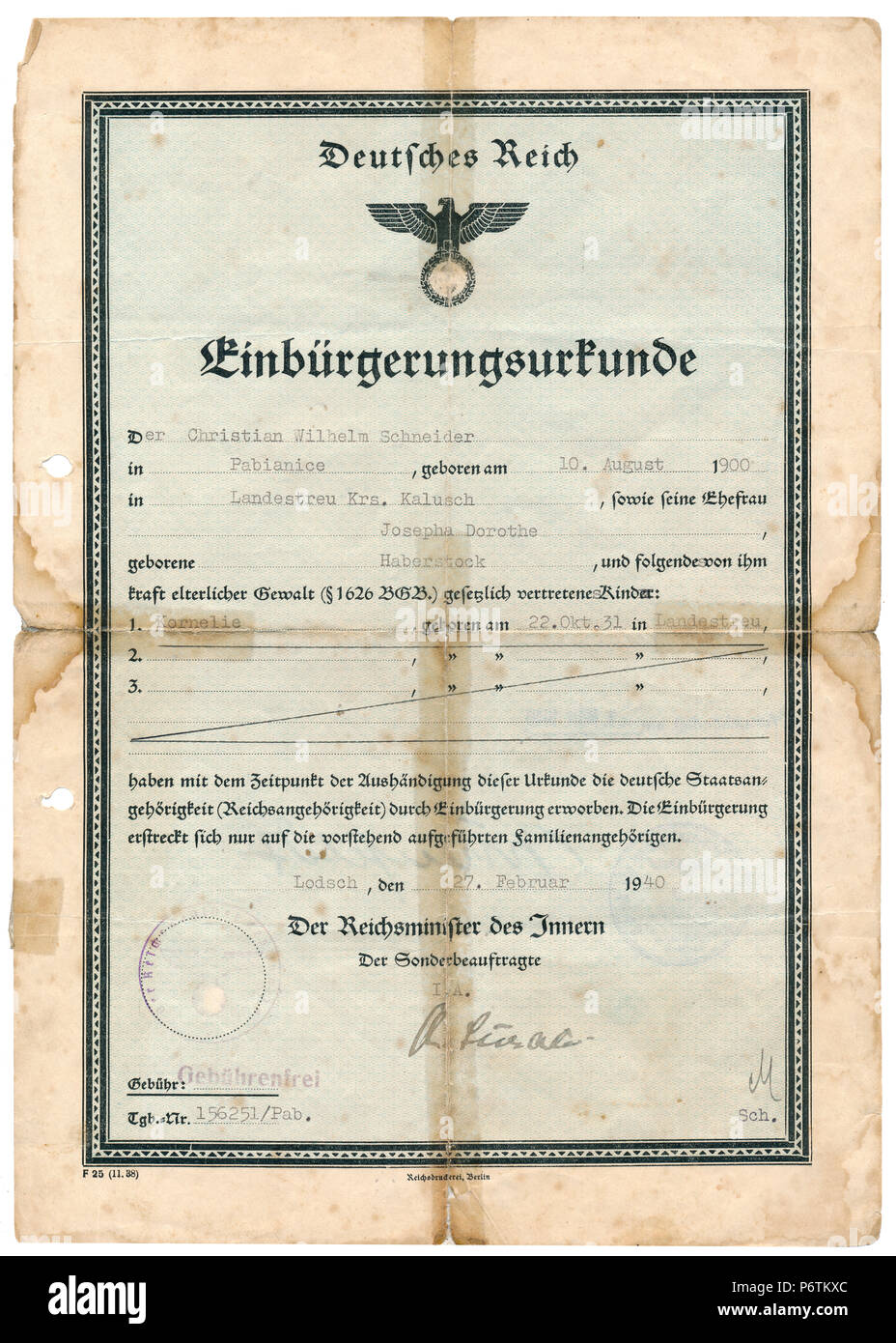Certificate of Nationality, 1940, Third Reich / Nazi Germany Period - Stock Image