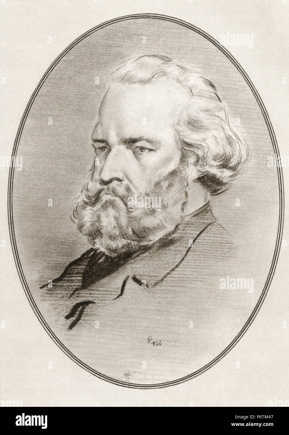 Jean-François Millet, 1814 – 1875. French painter and one of the founders of the Barbizon school.  Illustration by Gordon Ross, American artist and illustrator (1873-1946), from Living Biographies of Great Painters. - Stock Image