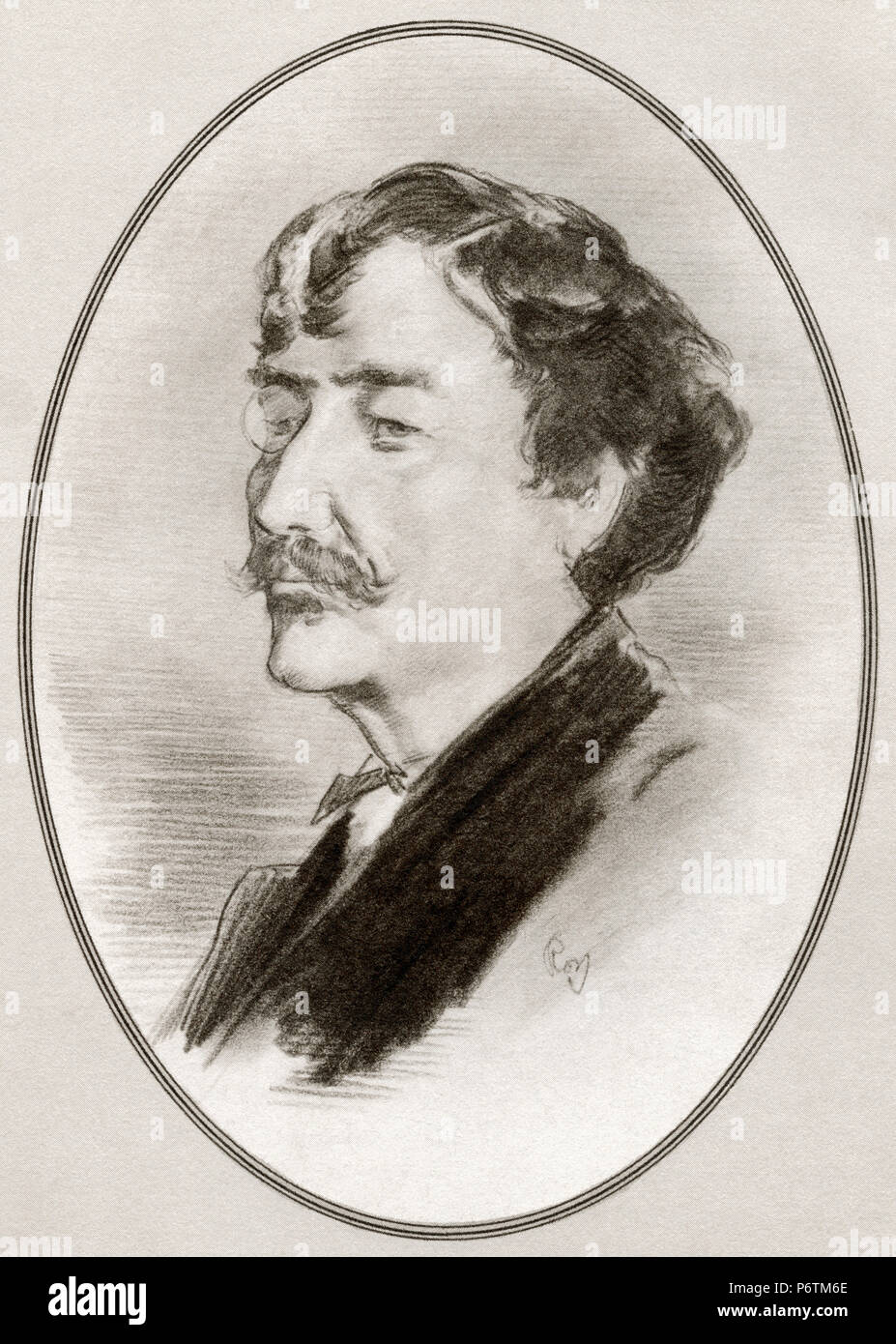 James Abbott McNeill Whistler, 1834 - 1903.  American artist.  Illustration by Gordon Ross, American artist and illustrator (1873-1946), from Living Biographies of Great Painters. - Stock Image