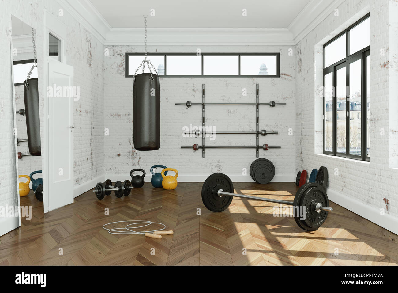 Workout room with different weight lifting equipment dumbbell
