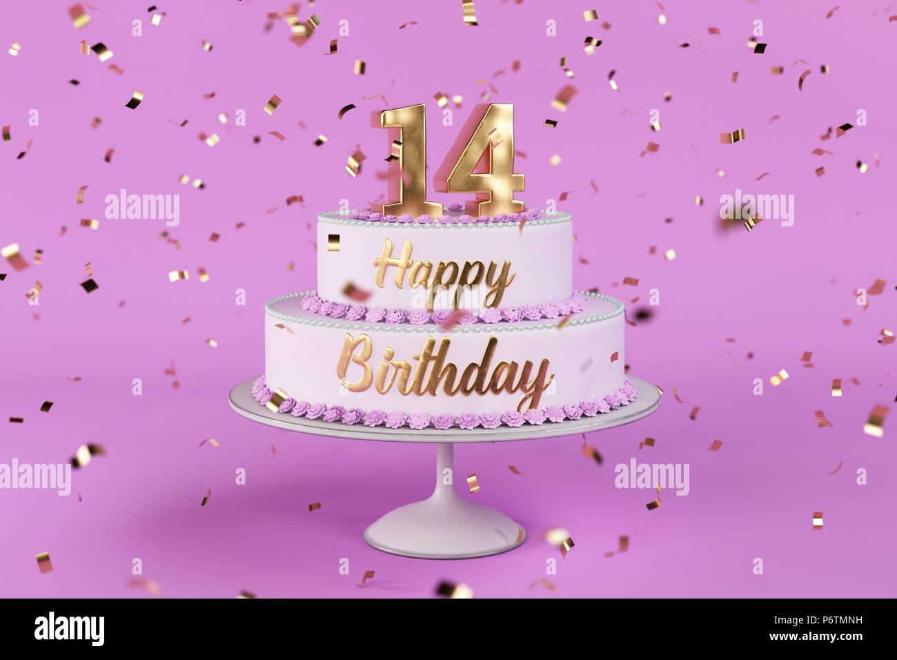 Astounding Birthday Cake With Golden Letters And Numer 14 On Top Stock Photo Funny Birthday Cards Online Alyptdamsfinfo