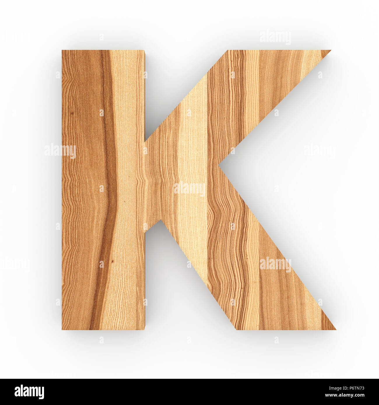 Wooden letter K isolated on white background Stock Photo