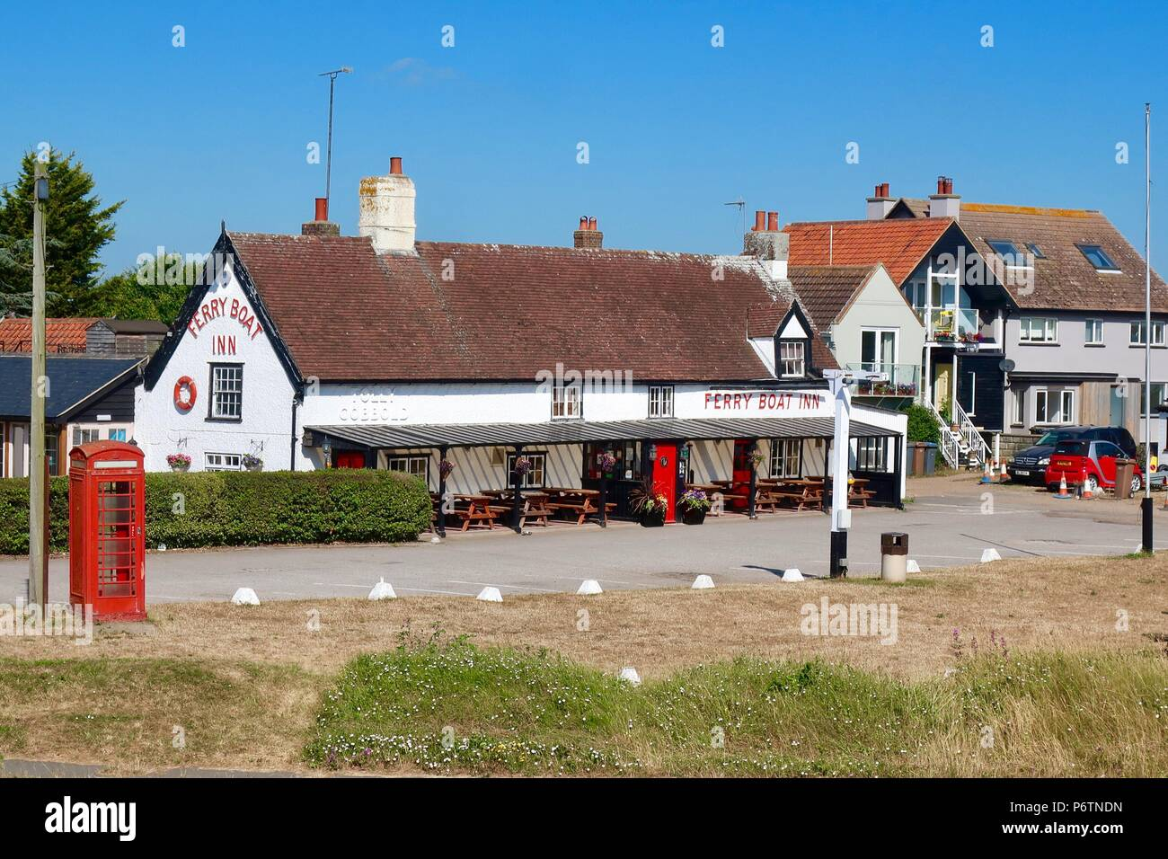 The Ferry Boat Inn at Felixstowe Ferry, Suffolk, UK. June 2018. - Stock Image