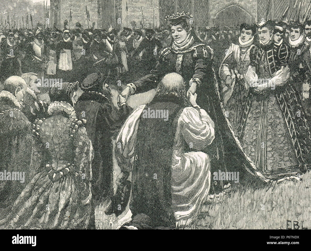 Queen Mary I, releasing the state prisoners from the Tower of London, England, 1553. The release of the Roman Catholic Duke of Norfolk, Edward Courtenay and Stephen Gardiner from imprisonment, following the plot to put Lady Jane Grey on the throne - Stock Image