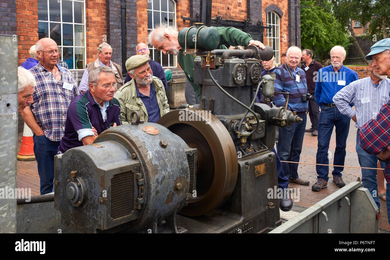 The rescued and restored Poynton Cinema engine being demonstrated at a rally for Russell Newbery boats in the boat museum at Ellesmere Port - Stock Image