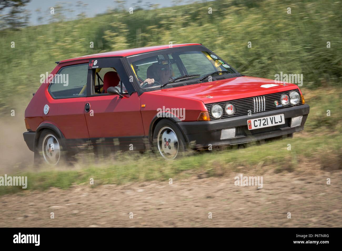 Fiat Strada running in a targa rally, UK - Stock Image