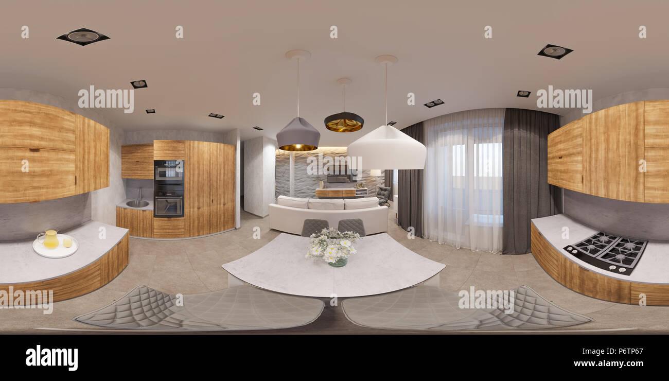 Strange 3D Illustration Spherical 360 Degrees Seamless Panorama Of Interior Design Ideas Clesiryabchikinfo