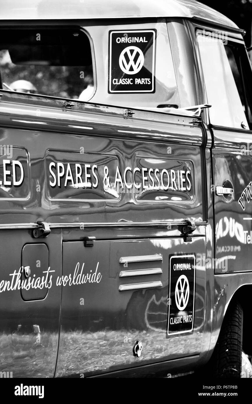 VW Volkswagen camper van single cab pick up at a VW show. Stoner Park, Oxfordshire, England. Black and white - Stock Image