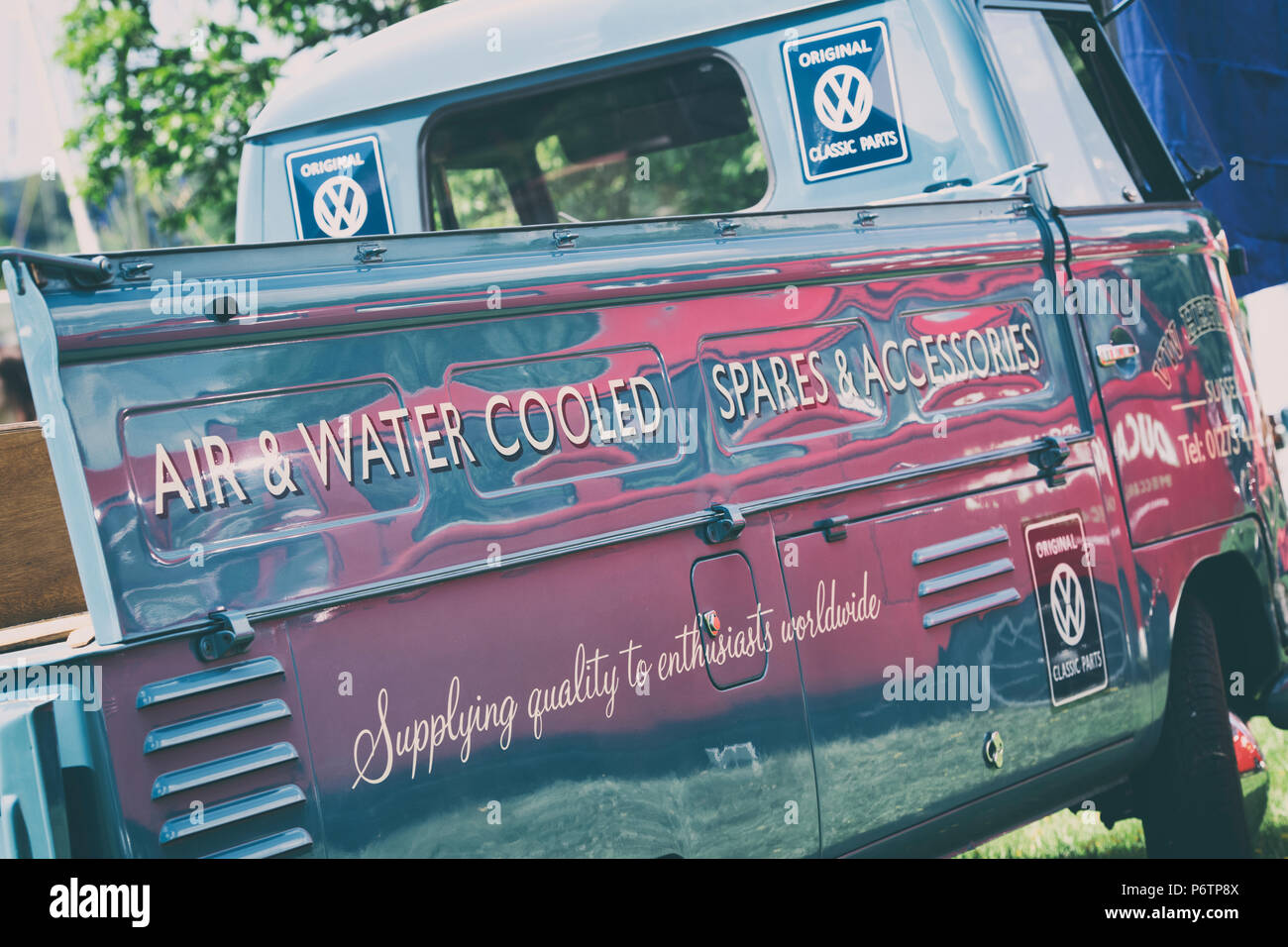 Vw Volkswagen Camper Van Single Cab Pick Up At A Vw Show Stoner Park Oxfordshire England Vintage Filter Applied Stock Photo Alamy