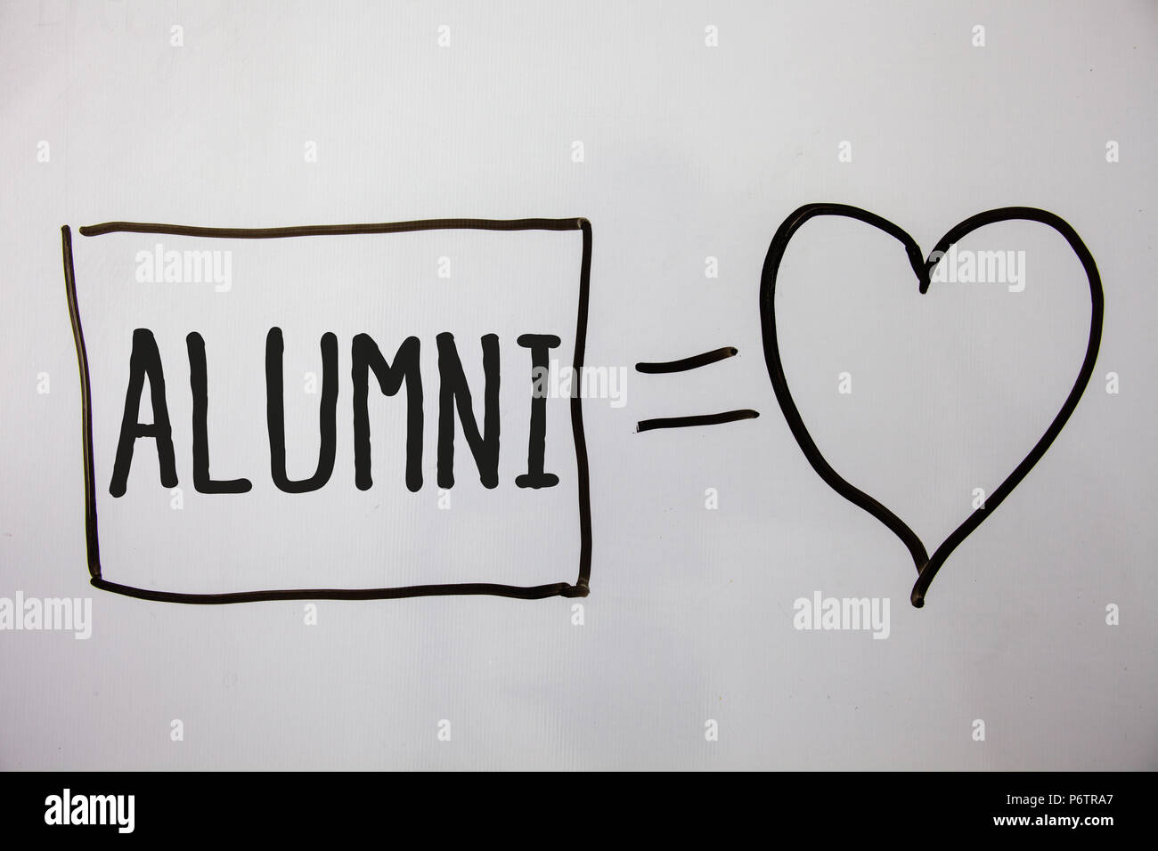Conceptual hand writing showing Alumni. Business photo showcasing Alum Old graduate Postgraduate Gathering College Academy Celebration Ideas messages  - Stock Image