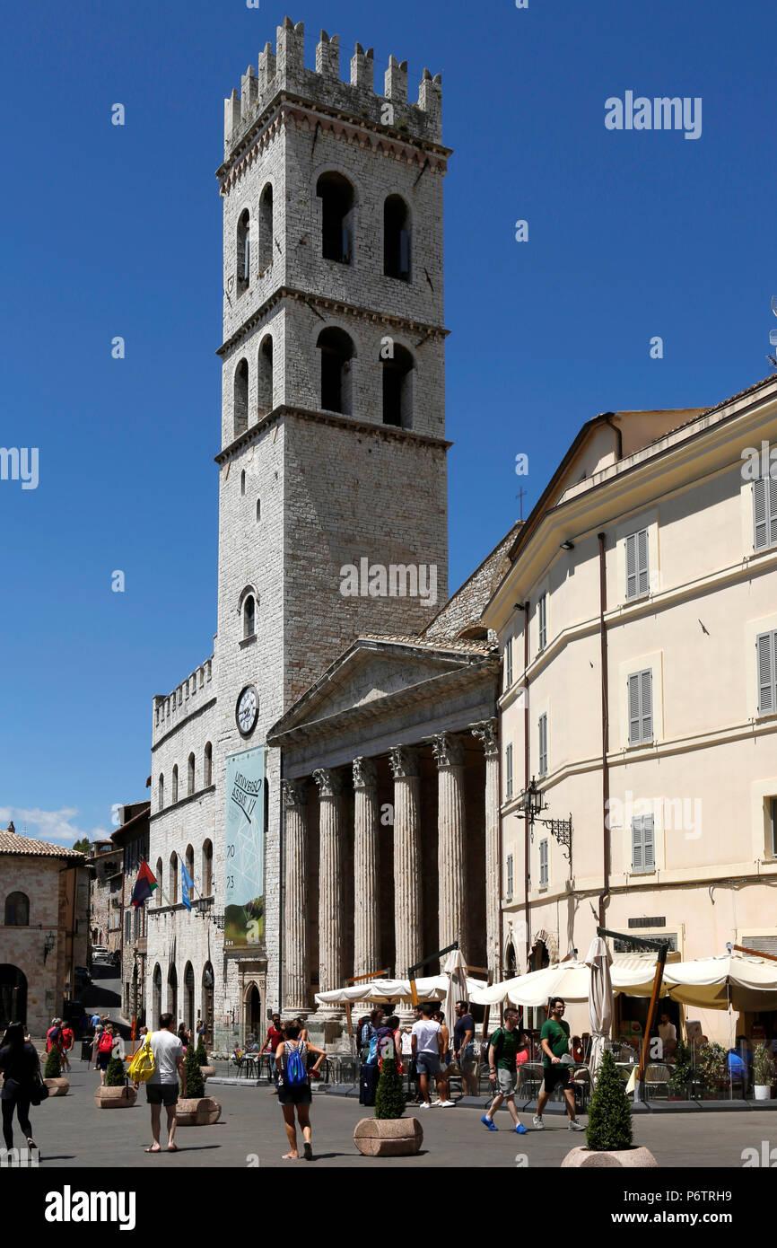 Church Santa Maria sopra Minerva, Piazza del Comune, facade, Assisi, Umbria, Italy, Europe Stock Photo