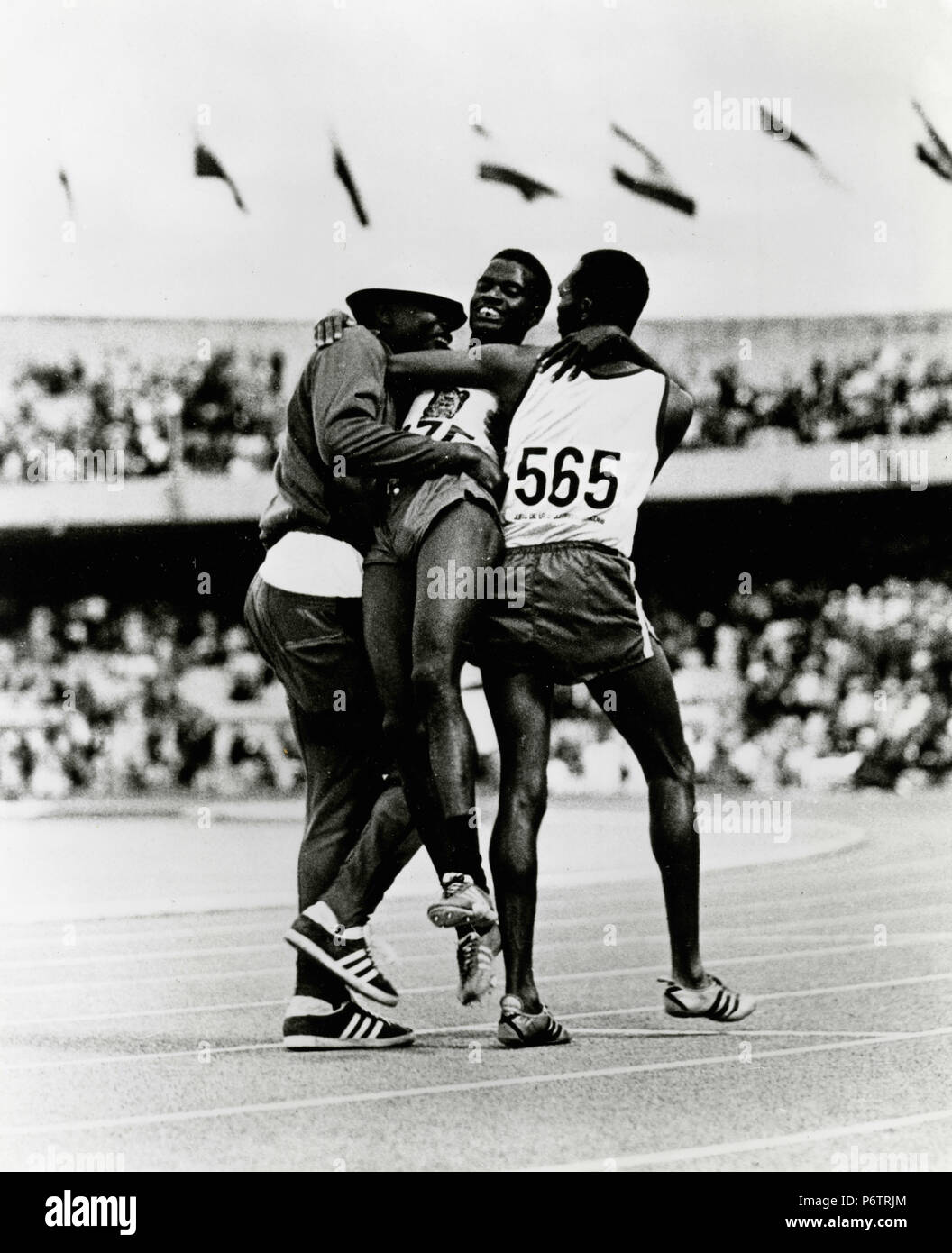Athletes competing at the Mexico 68 Olympics game - Stock Image