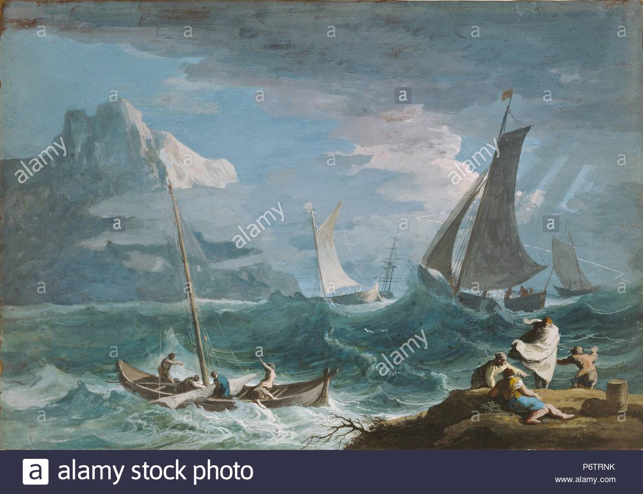 Fishing Boats in a Storm; Marco Ricci, Italian, 1676 - 1730; about ...