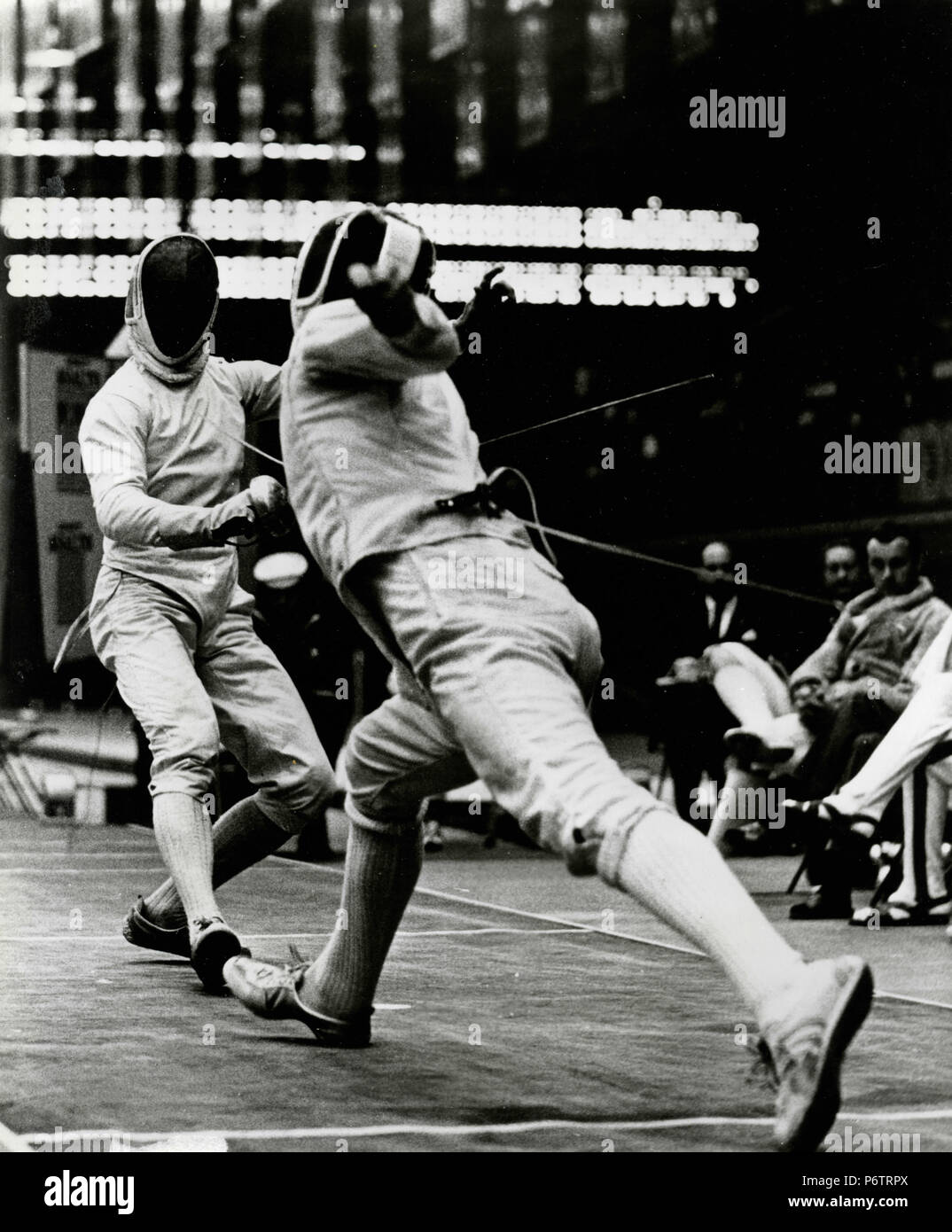 Fancing match during the Olympics, Mexico 68 - Stock Image