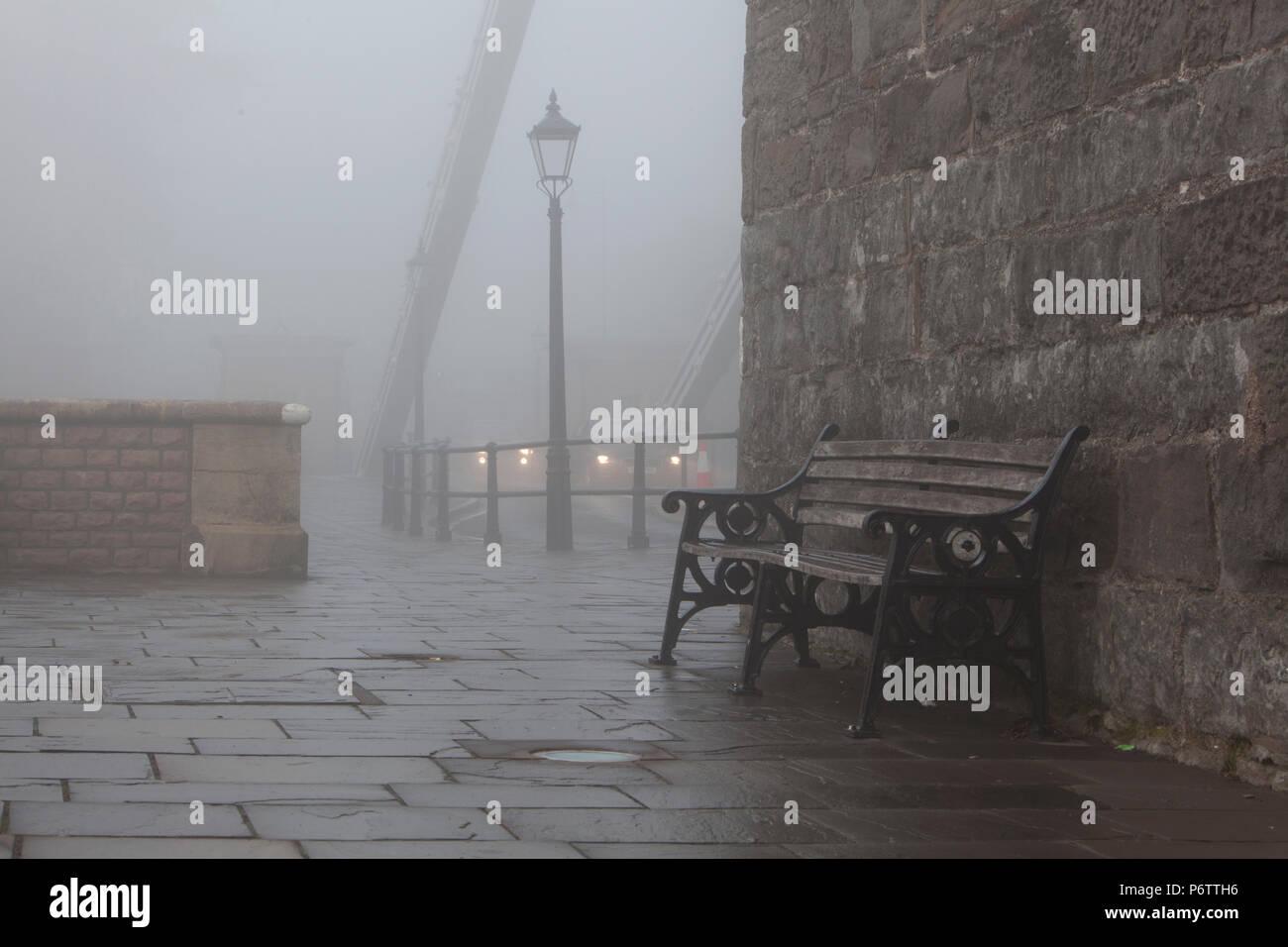 foggy timeless street scene - Stock Image