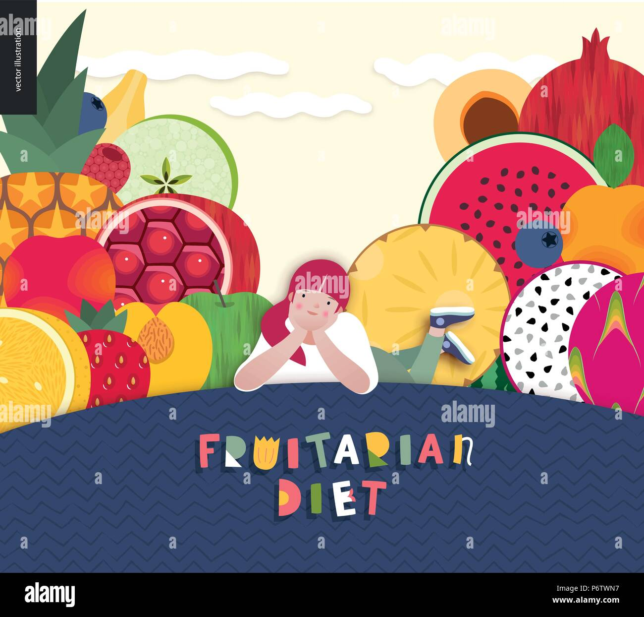 Fruitarian food diet- flat vector concept illustration, composition of a healthy fruit diet, young ginger girl lying on hill, sunny sky with clouds, F - Stock Vector
