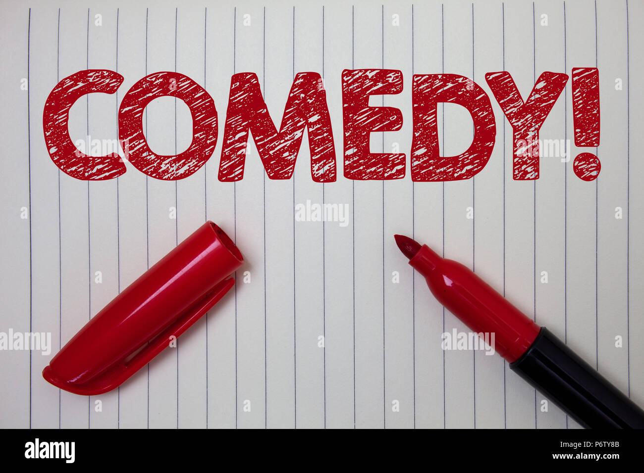 Word writing text Comedy Call. Business concept for Fun Humor Satire Sitcom Hilarity Joking Entertainment Laughing Notebook paper background open mark - Stock Image