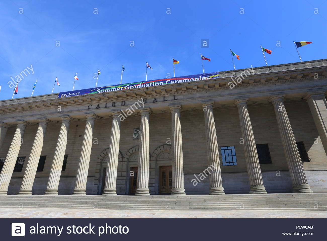Columns of Caird Hall Dundee Scotland  July 2018 - Stock Image