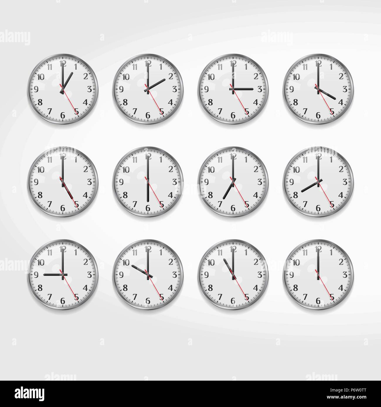 Office Wall Clocks Showing the Times of Day  Round Quartz Analog