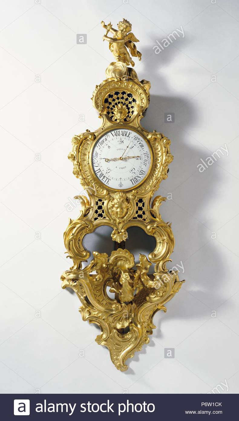 Barometer on Bracket; Case attributed to Charles Cressent, French, 1685 - 1768, master 1719, Bracket attributed to Jean-Joseph de Saint-Germain, French, 1719 - 1791, master 1748, Maker of lost movement: Digue, Maker of modern movement: Unknown; Paris, France, Europe; about 1755; barometer mechanism about 1933; Gilt bronze, enameled metal; wood carcass; glass; Object: H: 129.4 x W: 45.7 x D: 18.4 cm (H: 4 ft. 3 in. x W: 1 ft. 6 in. x D: 7 1/4 in.). - Stock Image