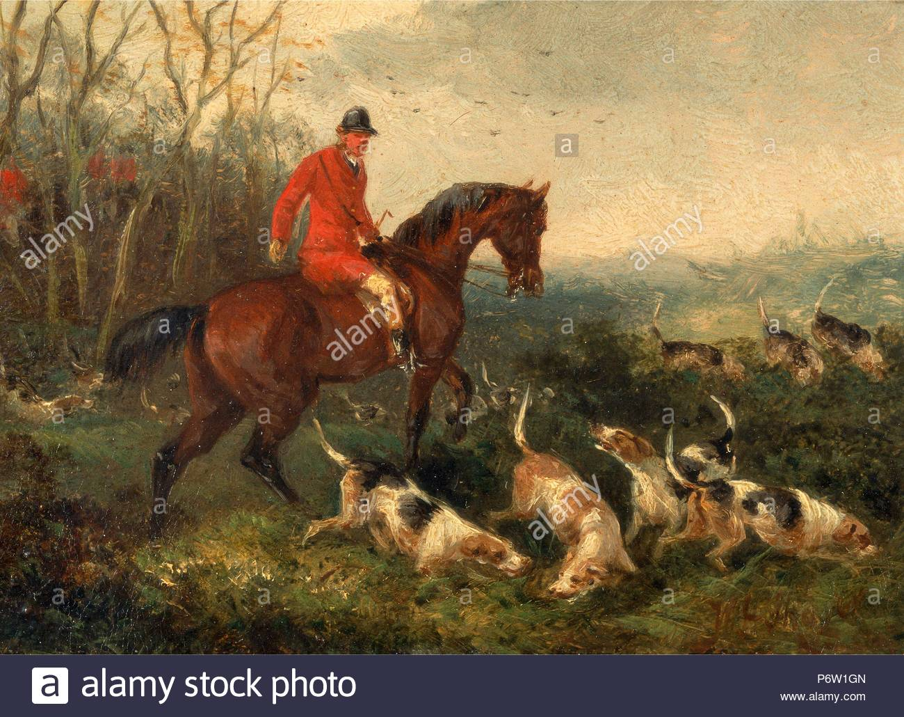 Foxhunting: At Cover Signed and dated in brown paint, lower right: 'WJ Shayer | 6[?]', William J. Shayer, 1811-c.1885, British. - Stock Image