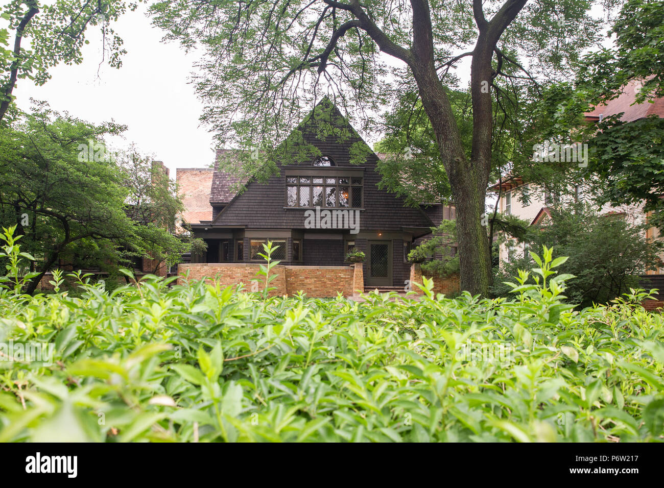 OAK PARK, ILLINOIS - JUNE 23, 2018: View of home and studio of influential architect Frank Lloyd Wright as seen from the outside. - Stock Image