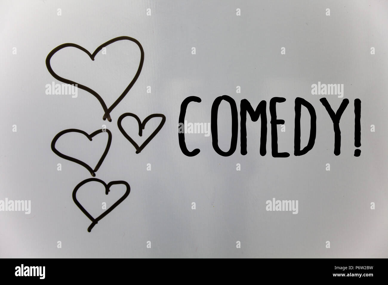 Word writing text Comedy Call. Business concept for Fun Humor Satire Sitcom Hilarity Joking Entertainment Laughing Hearts white background ideas messa - Stock Image