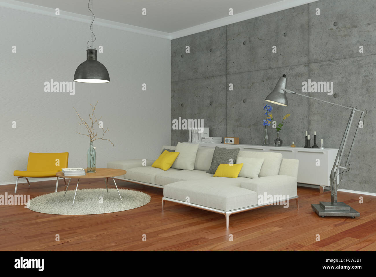 Modern Living Room Interior Design With Concrete Wall Stock Photo Alamy