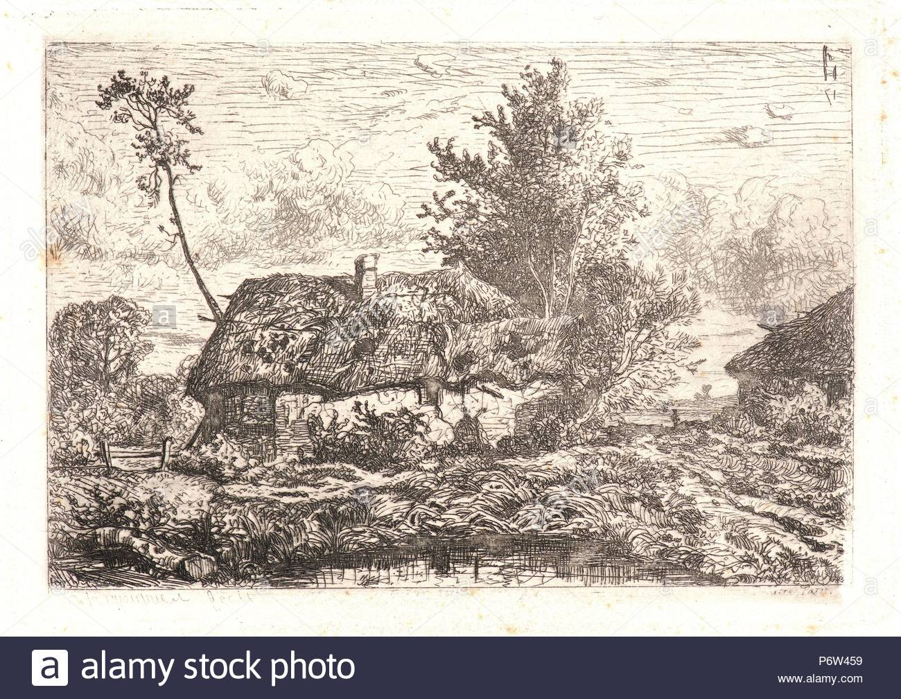 Henri-Joseph Harpignies (French, 1819 - 1916). The Thatched Cottage (La Chaumière). Etching. - Stock Image