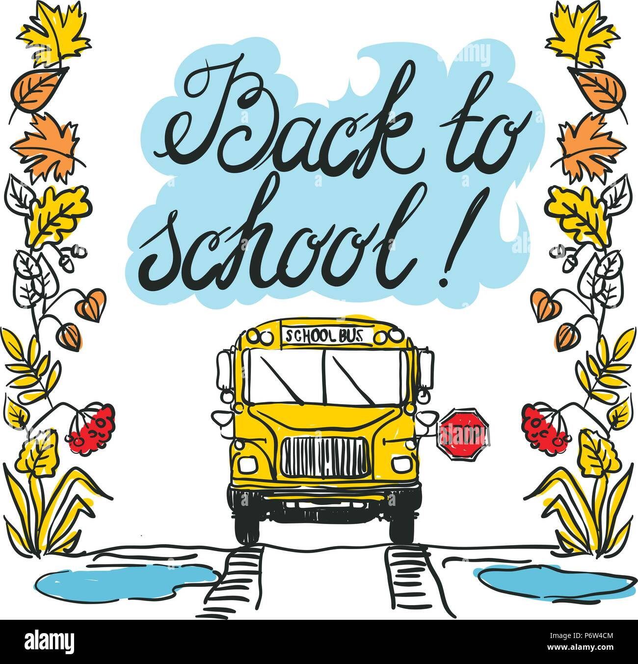 View of the entire rear of the school bus isolated on the white background - Stock Vector