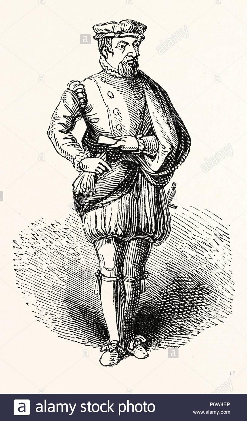 Statue Sir Thomas Gresham, English merchant and financier, London, England, engraving 19th century, Britain, UK. - Stock Image