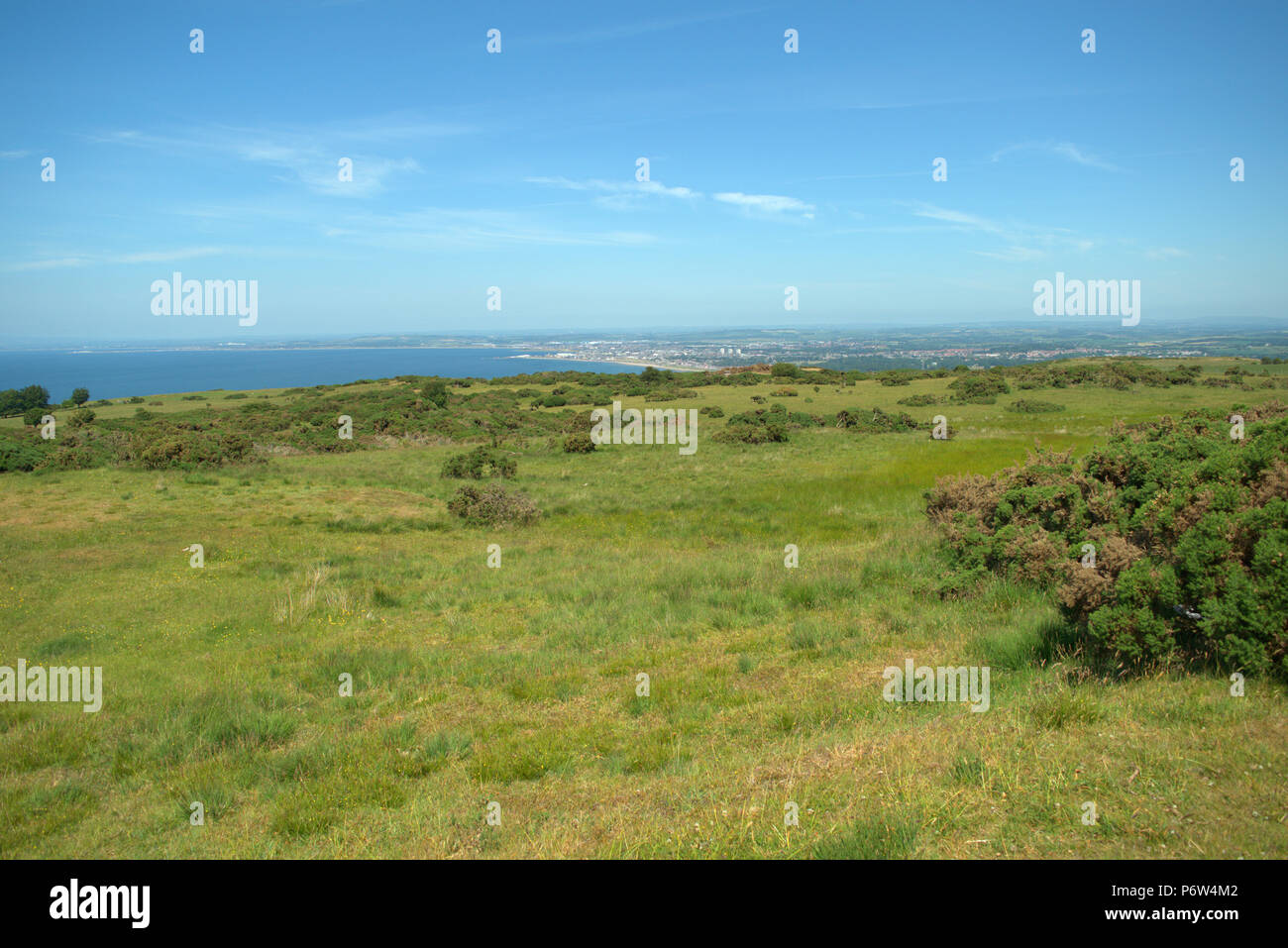 View from Carrick Hill, Ayr and Ayr Bay, Scotland - Stock Image