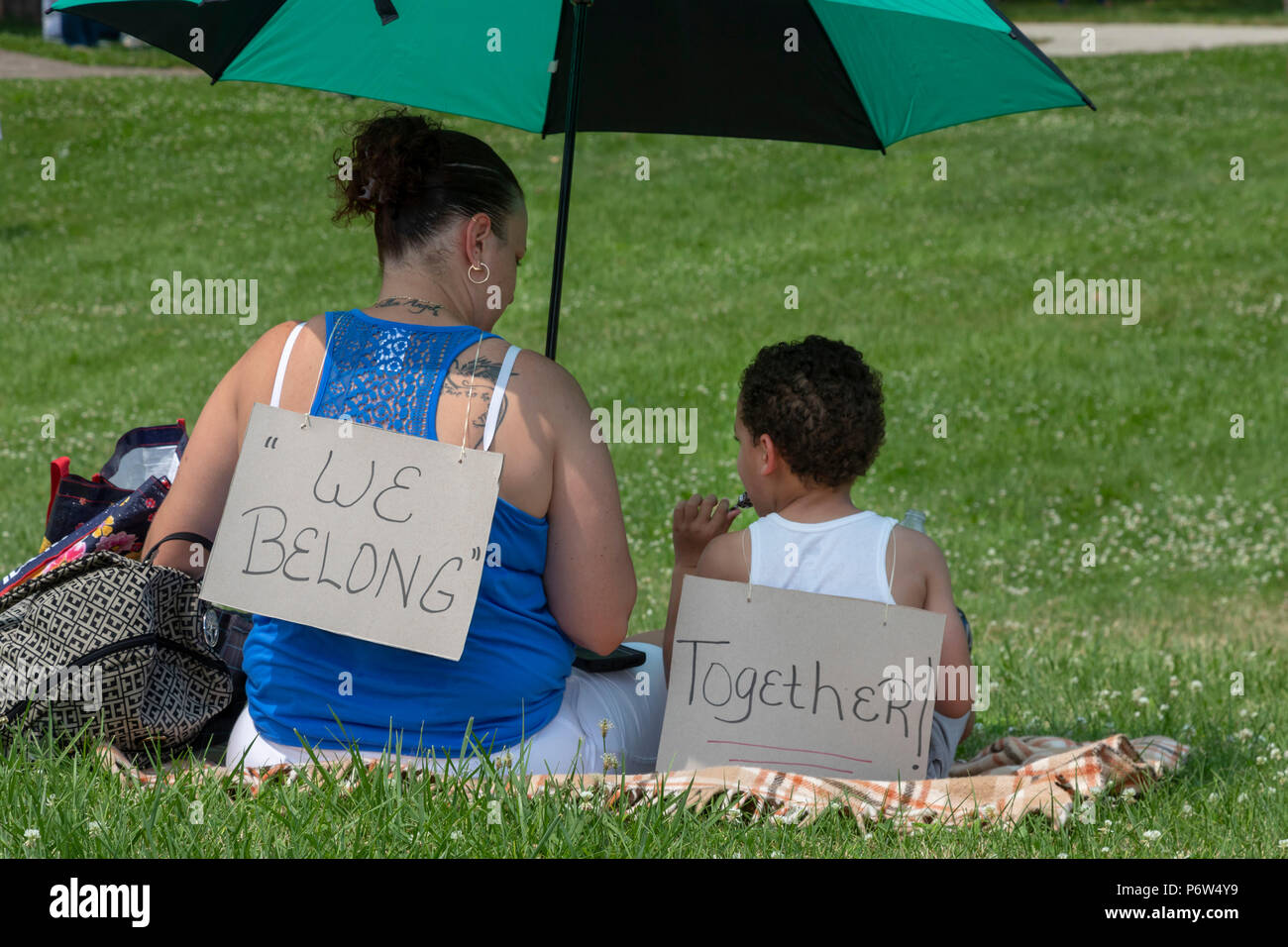 Detroit, Michigan - Protesters oppose the Trump administration's policy of separating young children from their parents at the U.S.-Mexico border. The - Stock Image