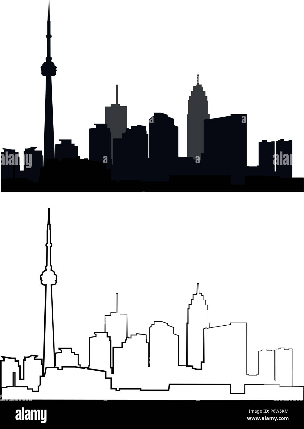 silhouette of city in black and grey interpretation - Stock Vector