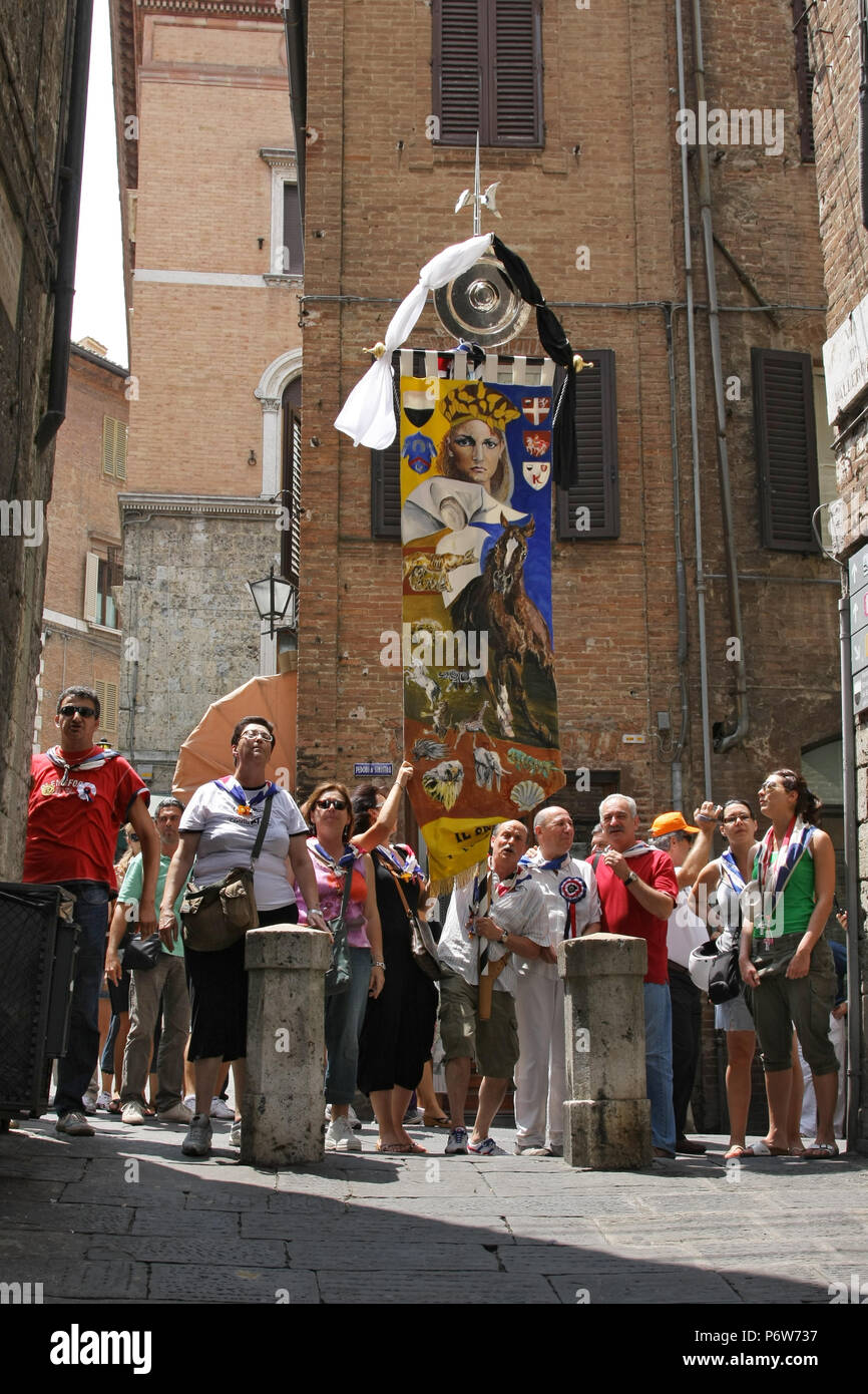 SIENA, ITALY - JULY 04, 2008: People waiting for the beginning of the horse race - Stock Image