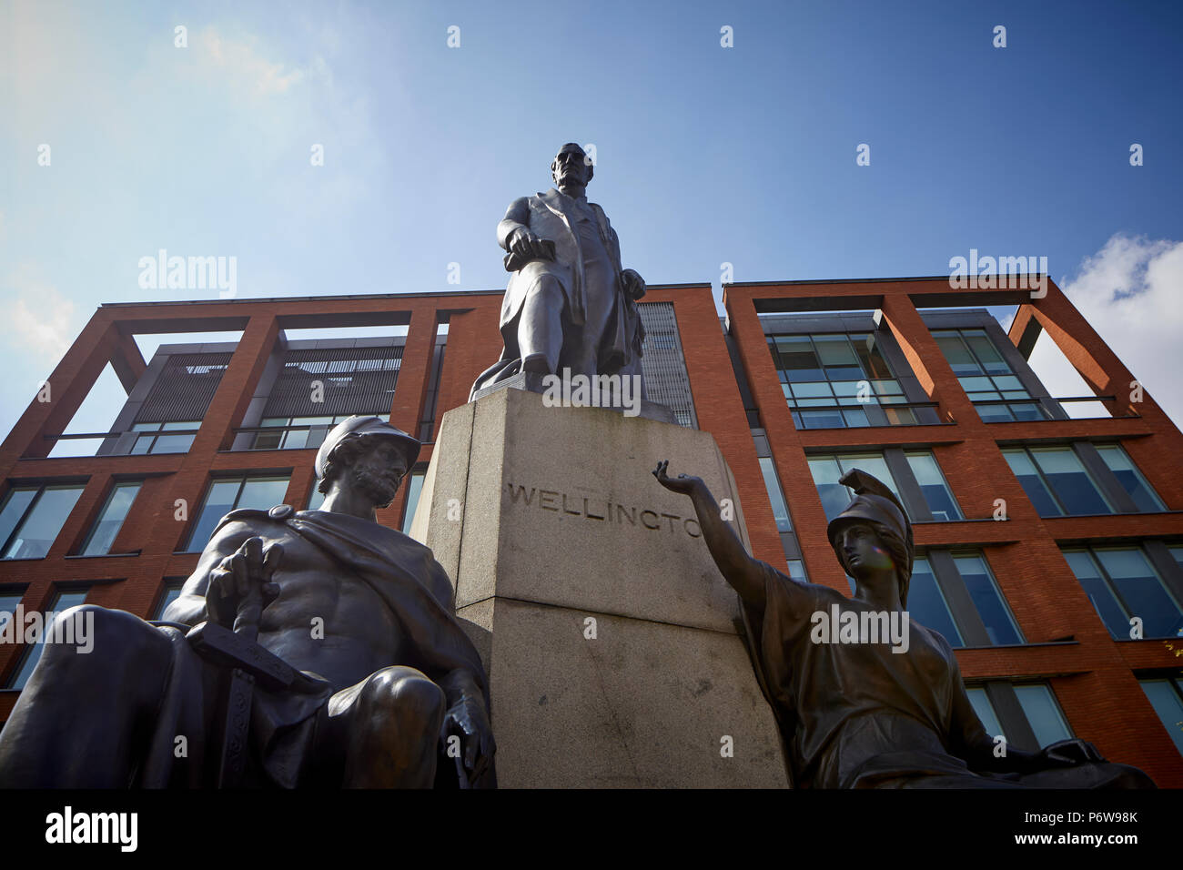 Duke of Wellington Monument Statue  Manchester Piccadilly Gardens - Stock Image