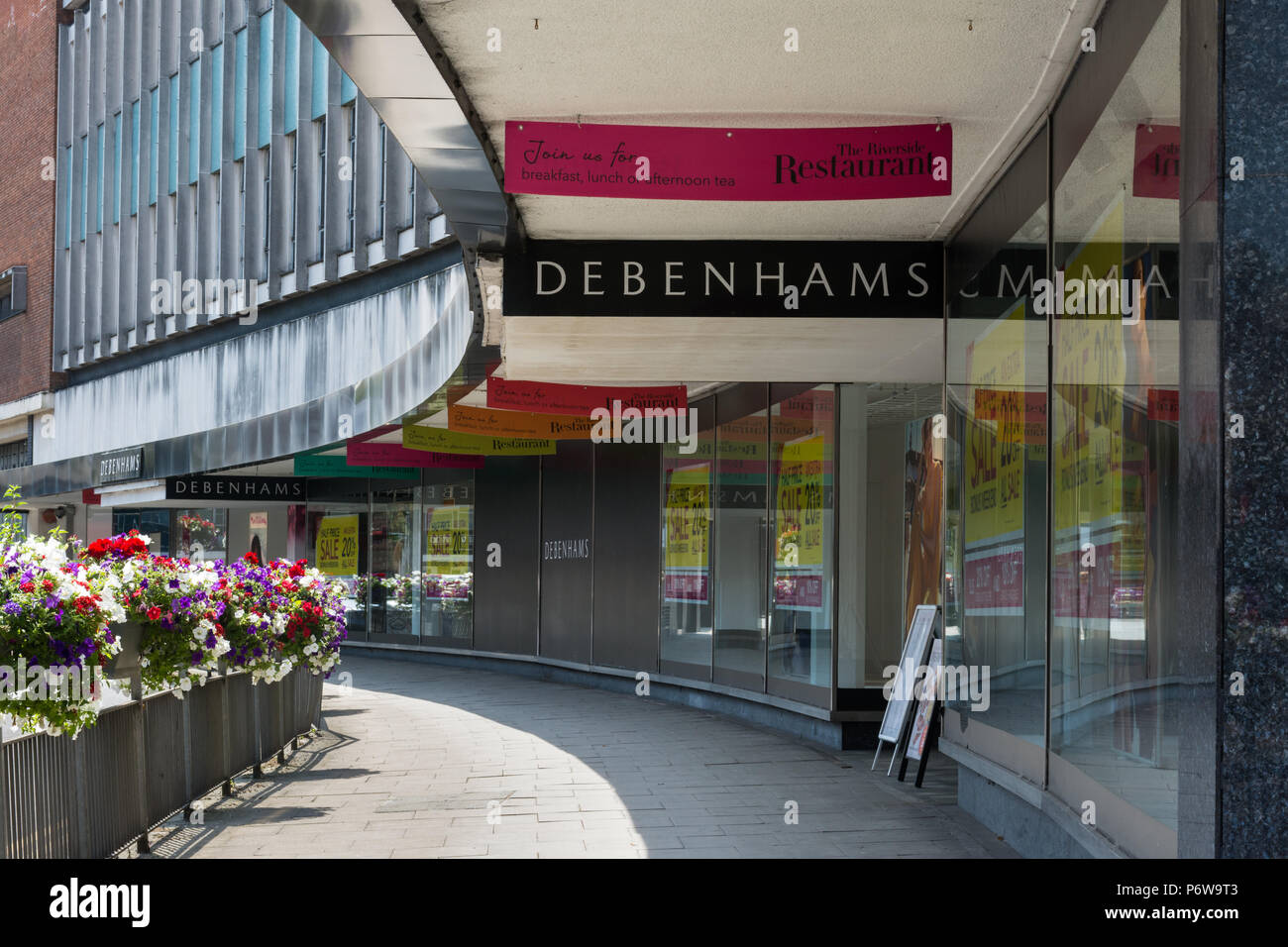 0a1994a6b0894 Exterior of the large Debenhams department store in Guildford town centre,  Surrey, UK