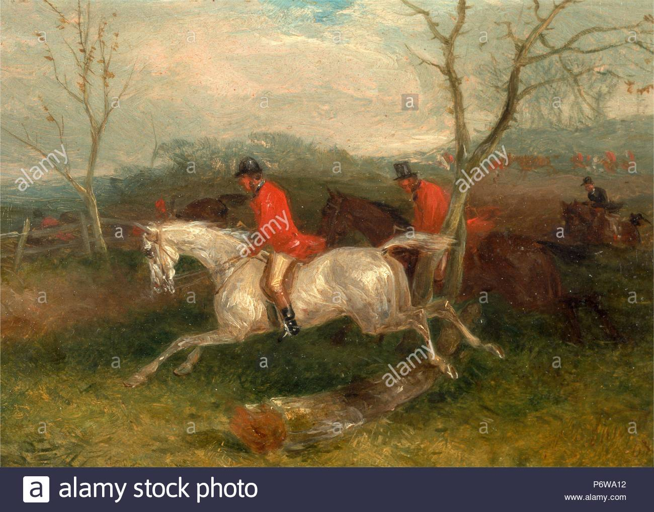 Foxhunting: Coming to a Fence (Full Cry) Signed and dated in brown paint, lower right: 'WJ Shayer | 63.', William J. Shayer, 1811-c.1885, British. - Stock Image