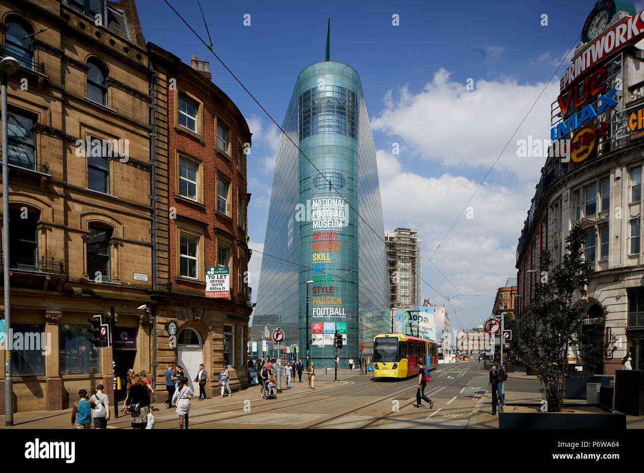 The National Football Museum is England's national museum of football. It is based in the Urbis building in Manchester city centre, designed by Ian Si - Stock Image