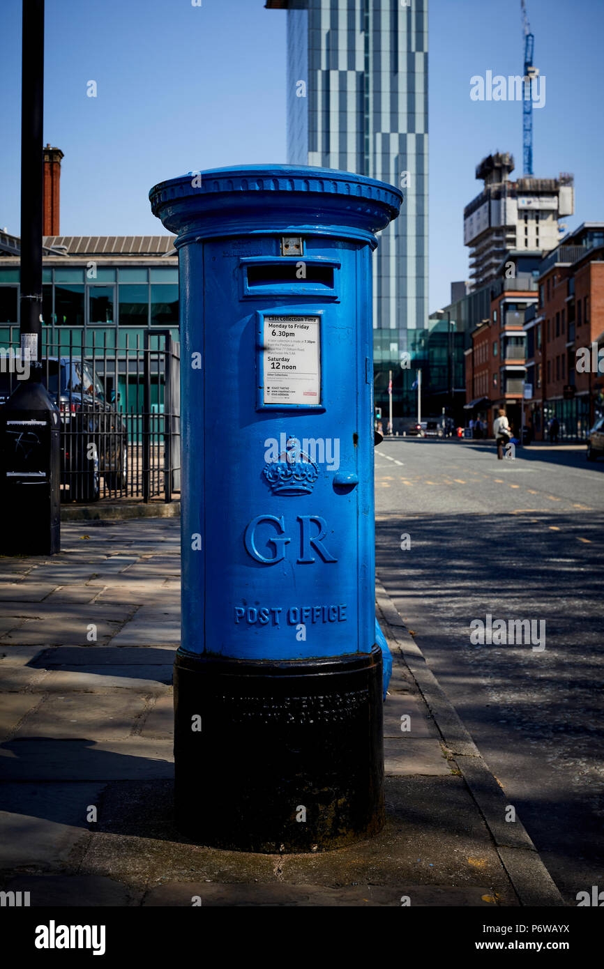Manchester  Blue airmail postbox outside MOSI - Stock Image