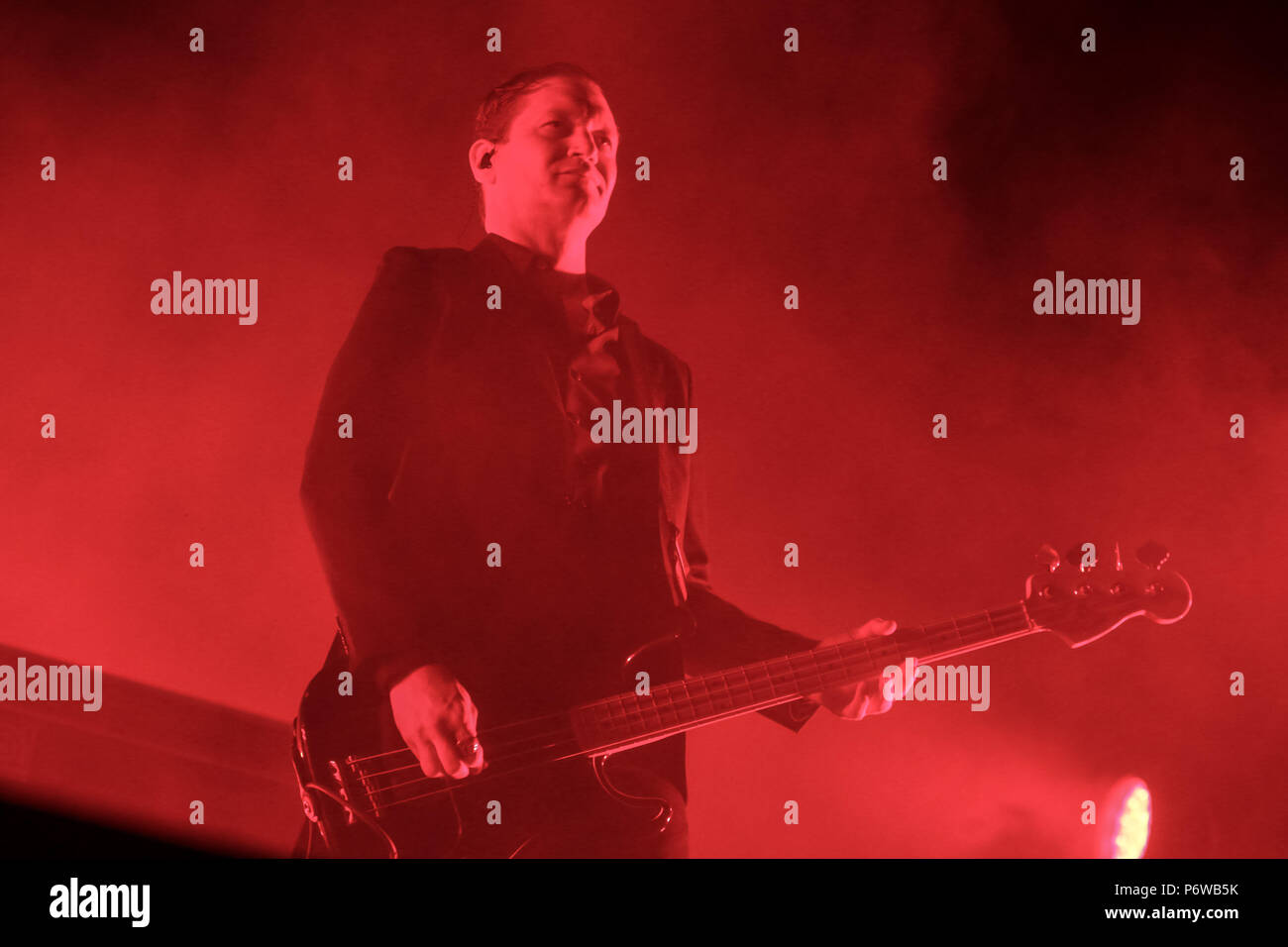 ZAGREB, CROATIA - 27th June, 2018 : American rock band Interpol performs on the Main stage during the 13th INmusic festival located on the lake Jarun  - Stock Image