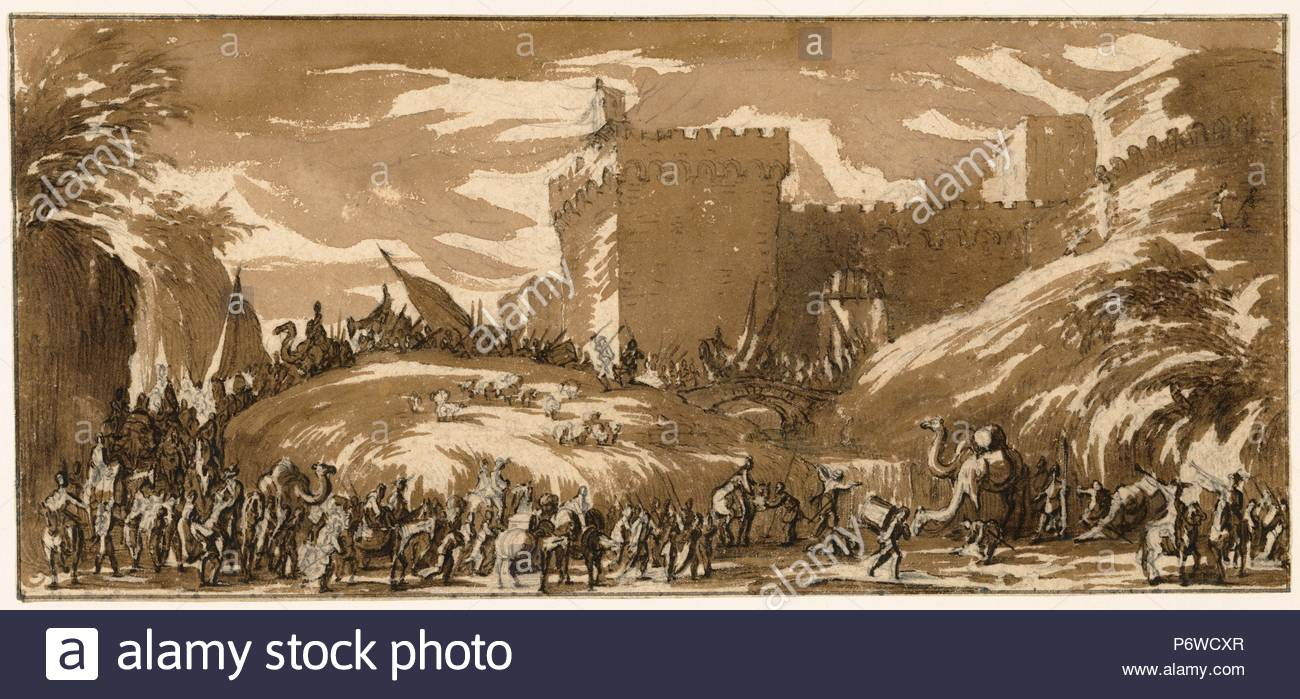 An Army Leaving a Castle; Jacques Callot, French, 1592 - 1635; France,  Europe; about 1632; Brush and brown wash over black chalk; 10.2 x 21.7 cm  (4 x 8 9/16 ...