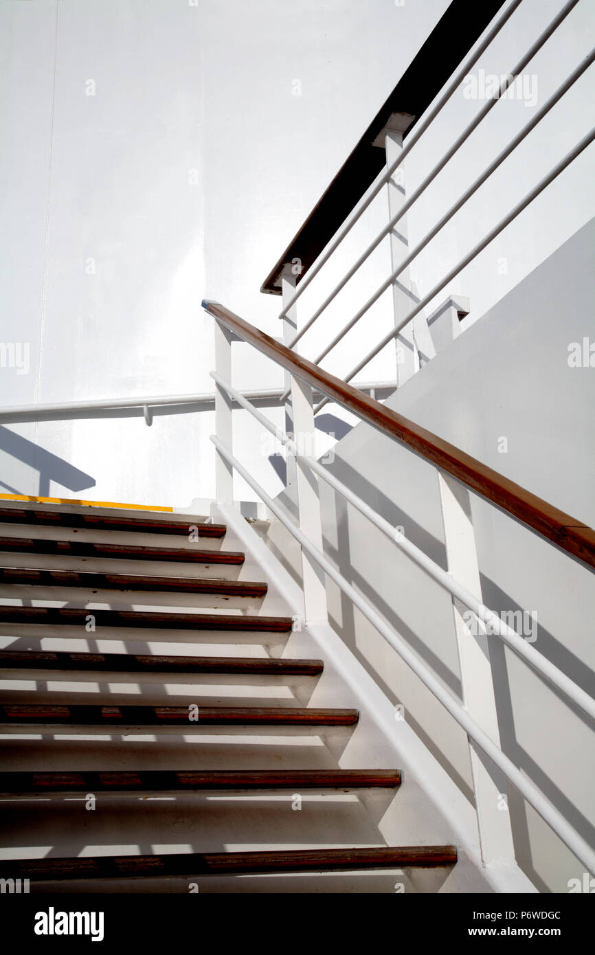 Ship Stairs And Rails Converge At The Top.   Stock Image