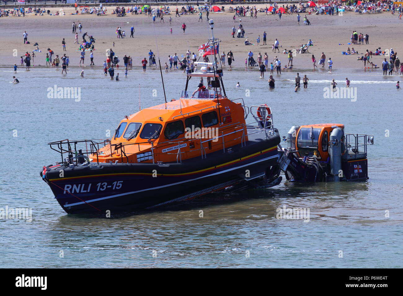 RNLI 13-15 Scarborough Lifeboat about to put on a publice training exercise during armed forces day. - Stock Image