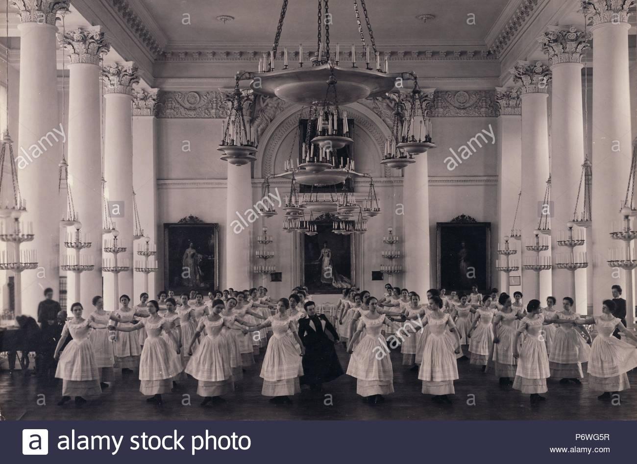 Dancing Lesson, the 'Mazurka'.; Karl Karlovitz Bulla, Russian, 1854 - 1929; before 1917; Gelatin silver print; Image: 18.4 x 27.9 cm (7 1/4 x 11 in.). - Stock Image